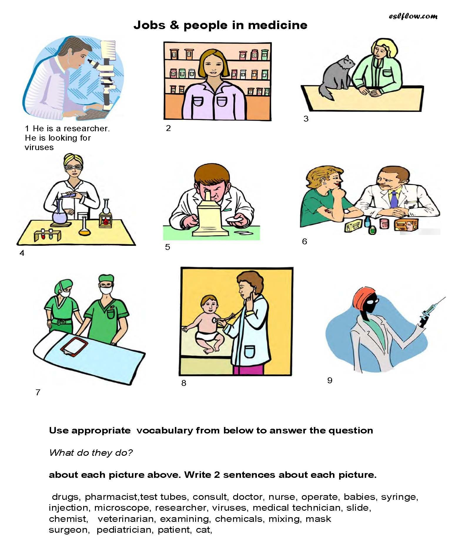 Medication Vocabulary Worksheet For Kids