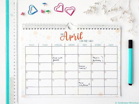 PRINTABLE Monthly Planner 2019, Monthly Calendar 2019, Wall Calendar