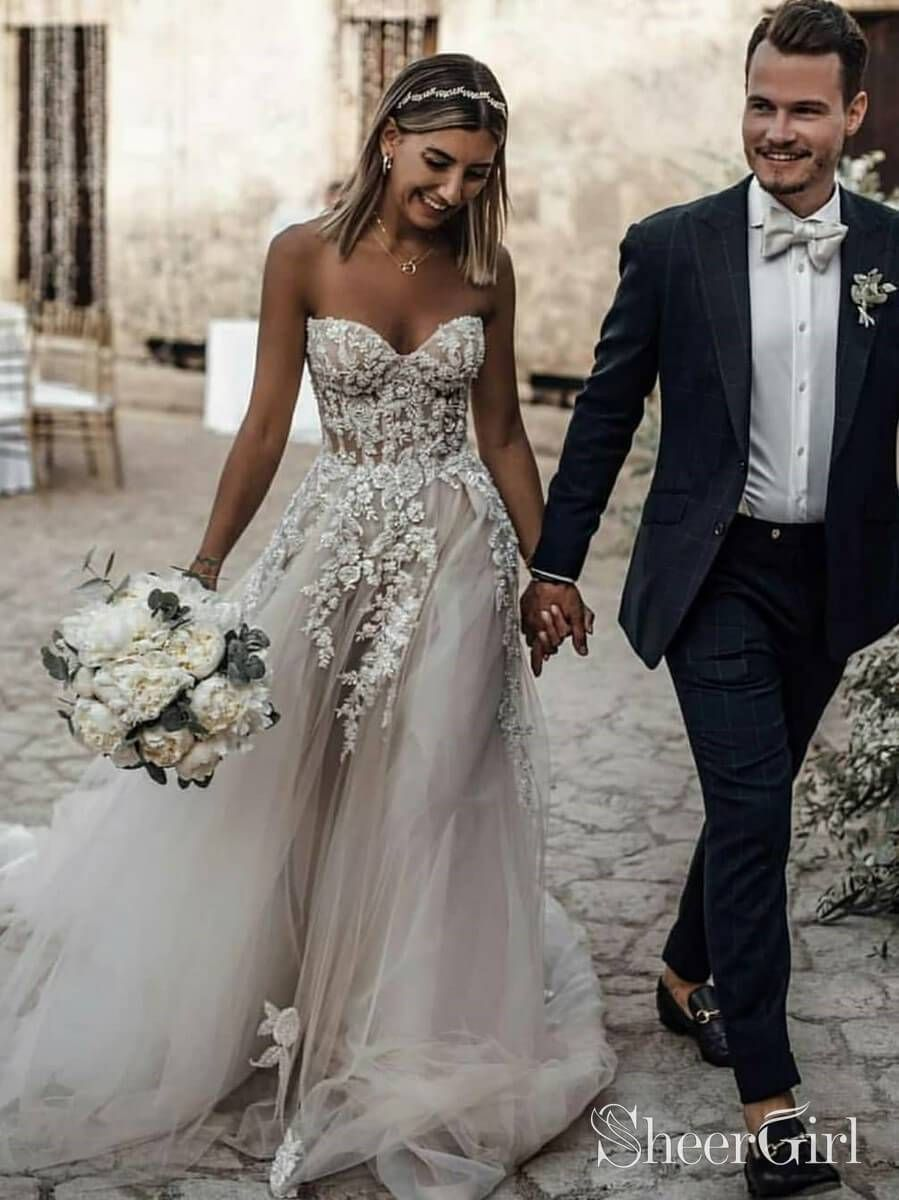 Sweetheart Neck Lace Rustic Wedding Dresses Long Tulle Beach
