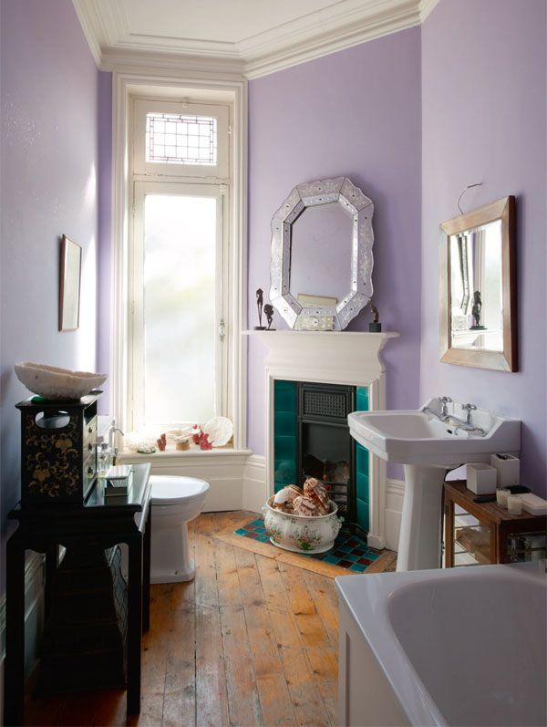 Ensuite Bathroom In Victorian House soft purple en-suite bathroom - restoring a victorian house - via