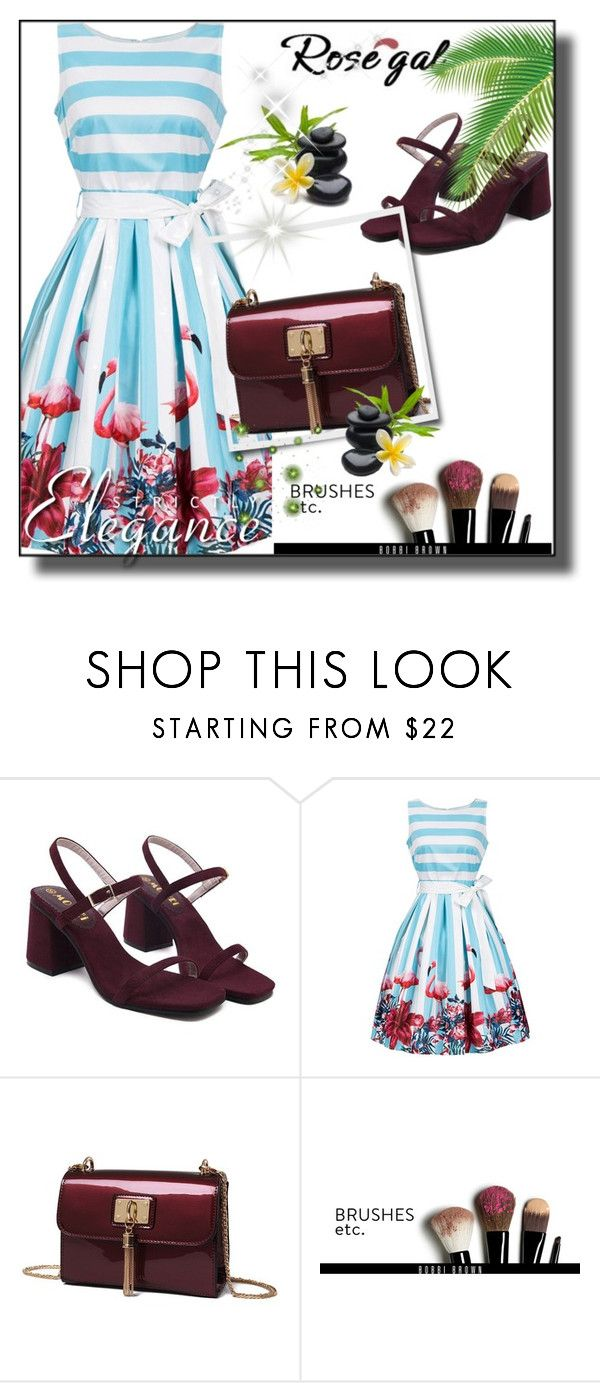 """""""Floral and Striped Tie Belt Sleeveless Dress"""" by ramiza-rotic ❤ liked on Polyvore featuring Bobbi Brown Cosmetics"""