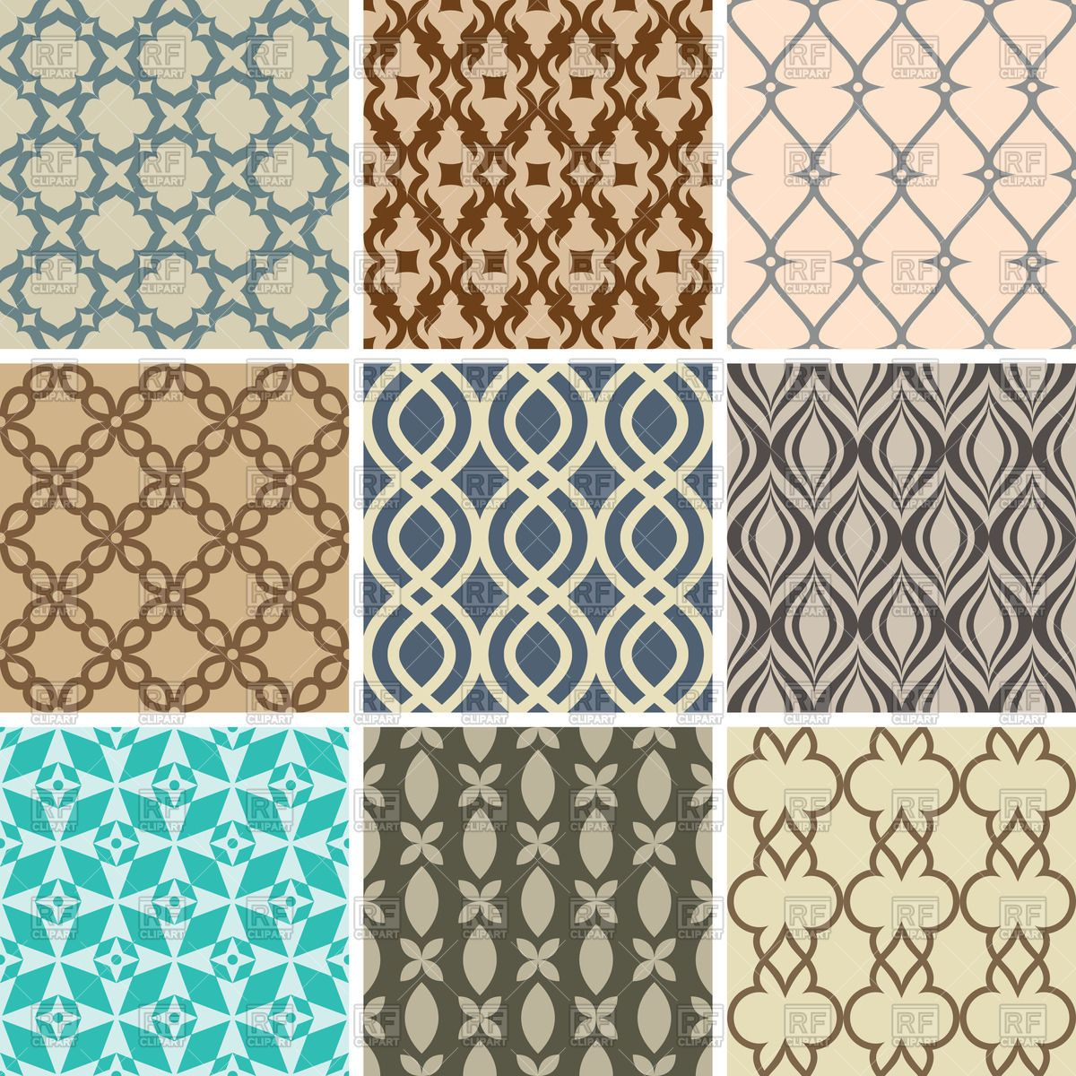 Seamless Wallpapers With Simple Decorative Patterns Stock