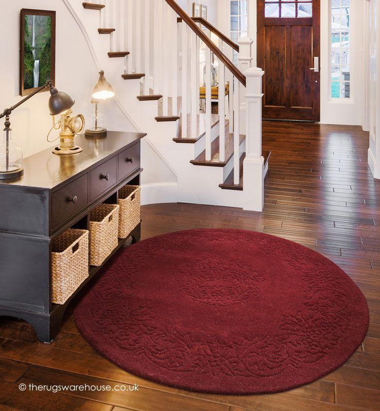 Kolam Claret Circle Rug A 100 Wool Hand Tufted With Carved