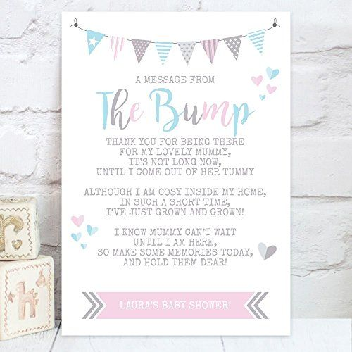 Personalised Baby Shower A Message From The Bump Poem Table Sign Bs1 Baby Shower Messages Baby Shower Poems Baby Shower Party Themes