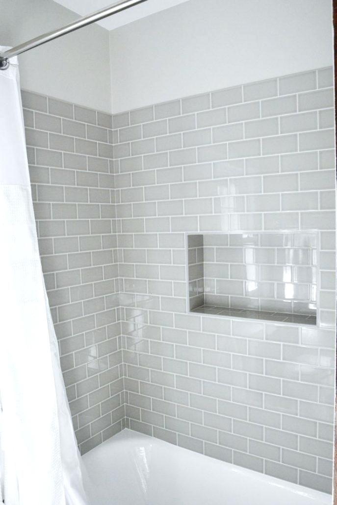 Light Grey Tile White Grout White Tub Bathrooms