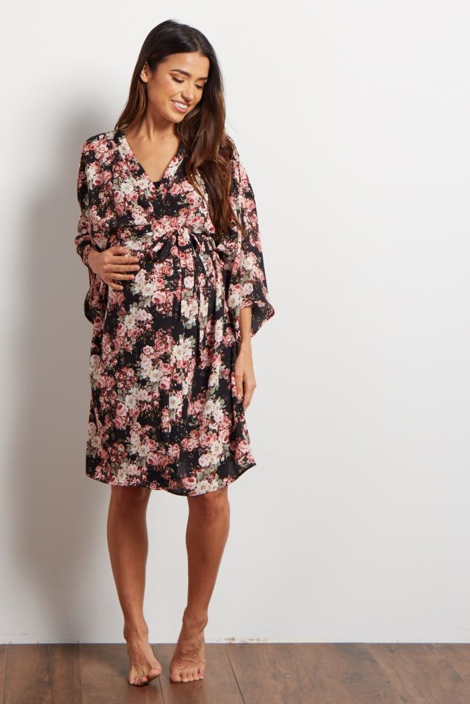 Black Floral Dressing Robe