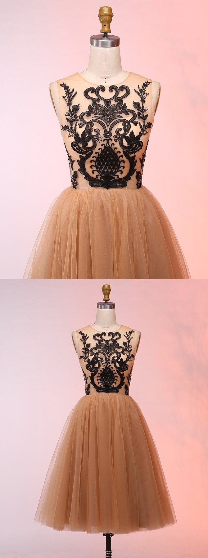 Champagne prom party dresses with black appliques fashion short