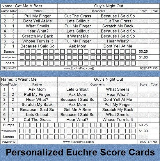 Euchre Score Card Template Heres A Printable Set Of Yahtzee Score