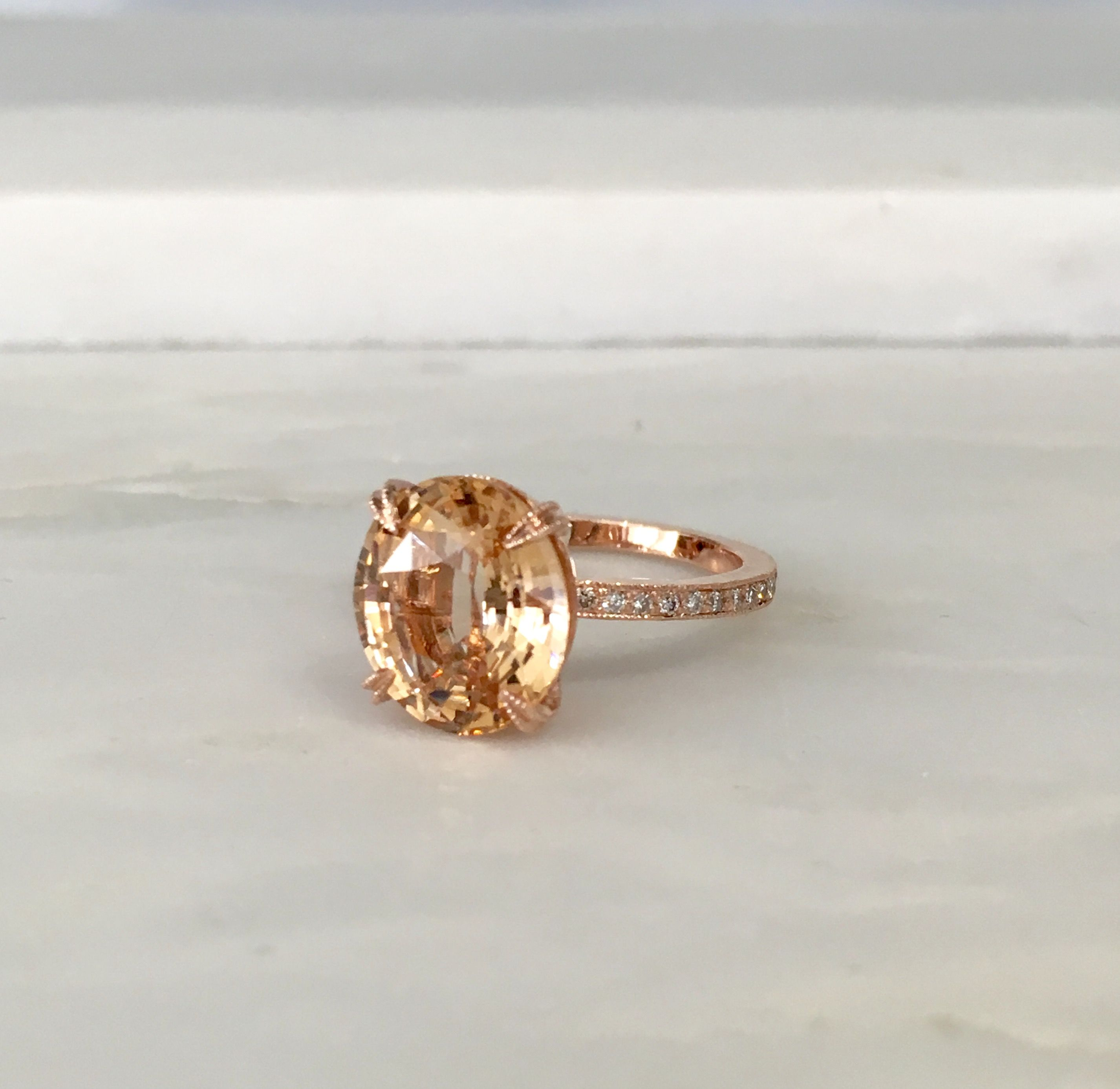 sapphire gold diamonds with store ring peach