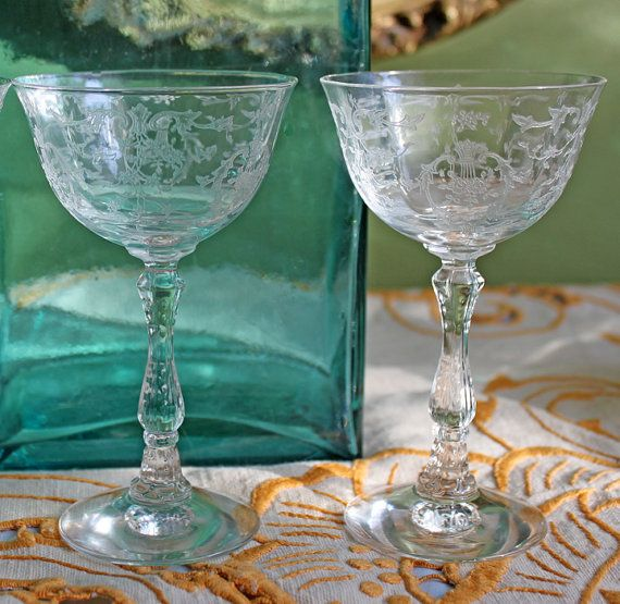 Antique Fostoria Crystal Fine Crystal Clarets With