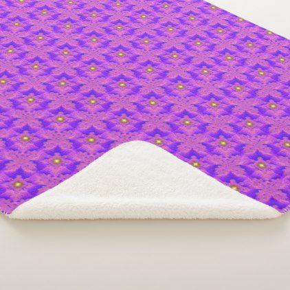 Blue Pink Flowers in 3D  Artdeco Sherpa Blanket - home decor design art diy cyo custom