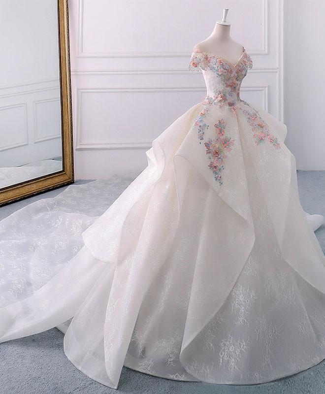 Photo of Vestido de fiesta largo de encaje con hombros descubiertos blanco …