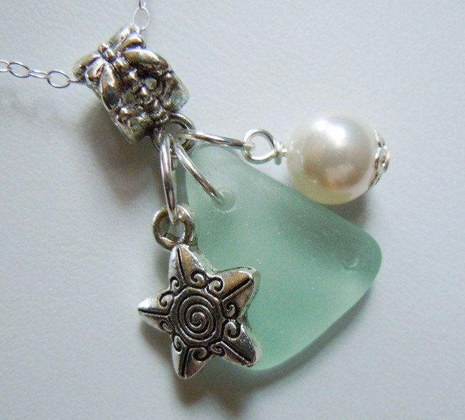Sea Glass Necklace - Modern Jewelry  Sea Foam Beach Glass Necklace Jewelry. $25.50, via Etsy.