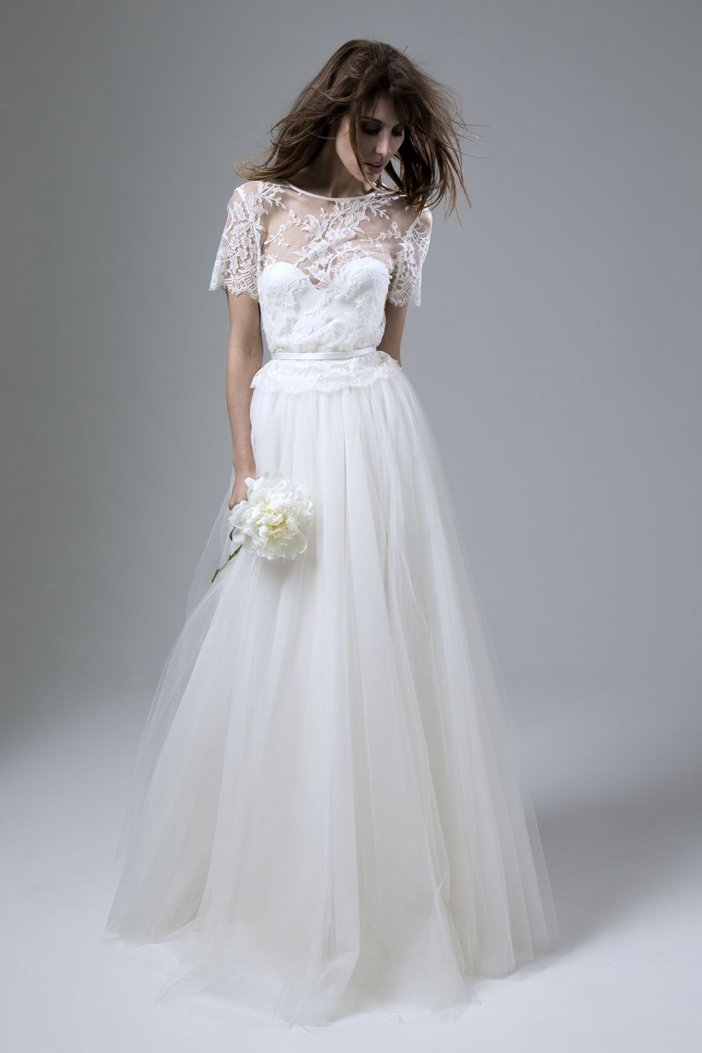 Ivory silk and lace wedding dress  Annabel u Dita  Our Dress of the Week  French lace Tulle skirts