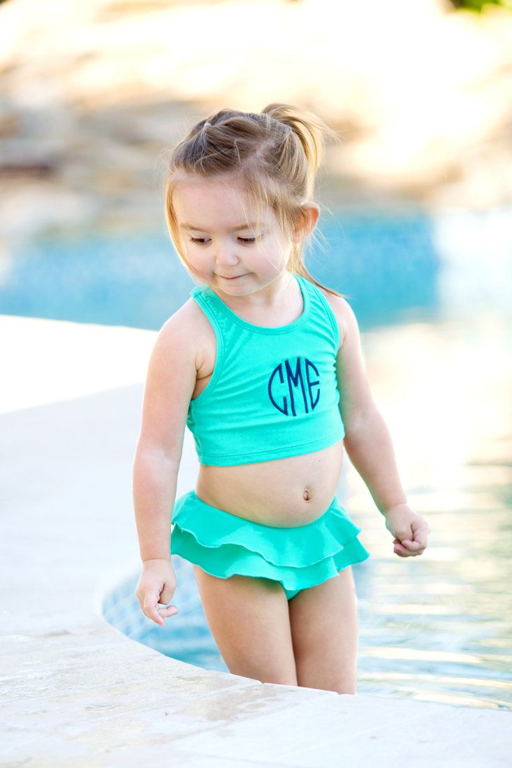 girls monogrammed mint swimsuit  personalized swimsuit  preppy girls swim  mint bathing suit