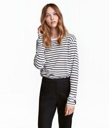 b46ff43f Long-sleeved Top | White/black striped | Women | H&M US | 50+ Ideas ...