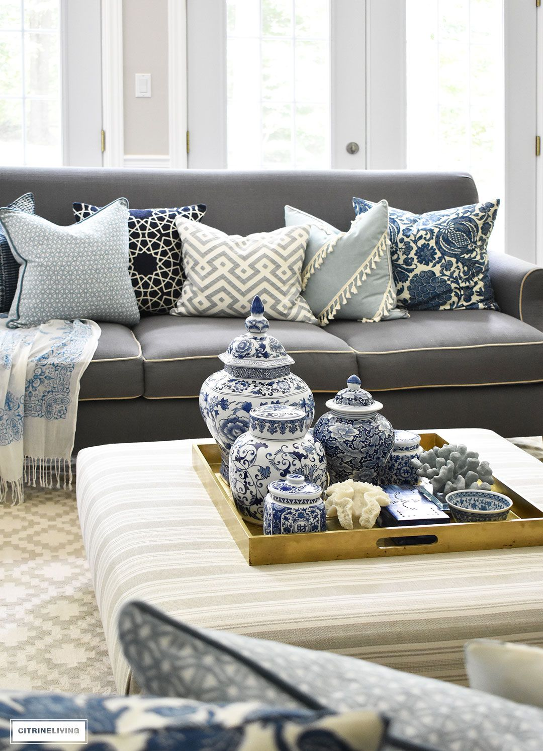 3 Ways To Style Your Coffee Table Or Ottoman Bluest Blue