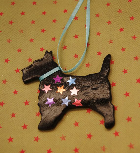 Black airdry clay scottie dog Christmas by albertinebelle on Etsy, £1.80