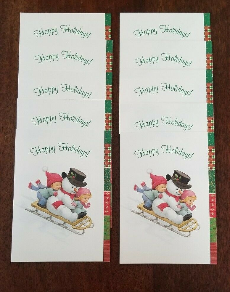 Current Christmas Cards 2020 Snowman Kids Sled Ruth Bill Morehead Collection Christmas Cards 10