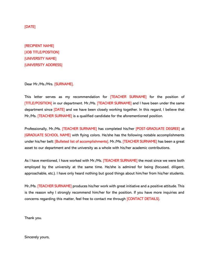 Letter For A Teacher Sample Letters