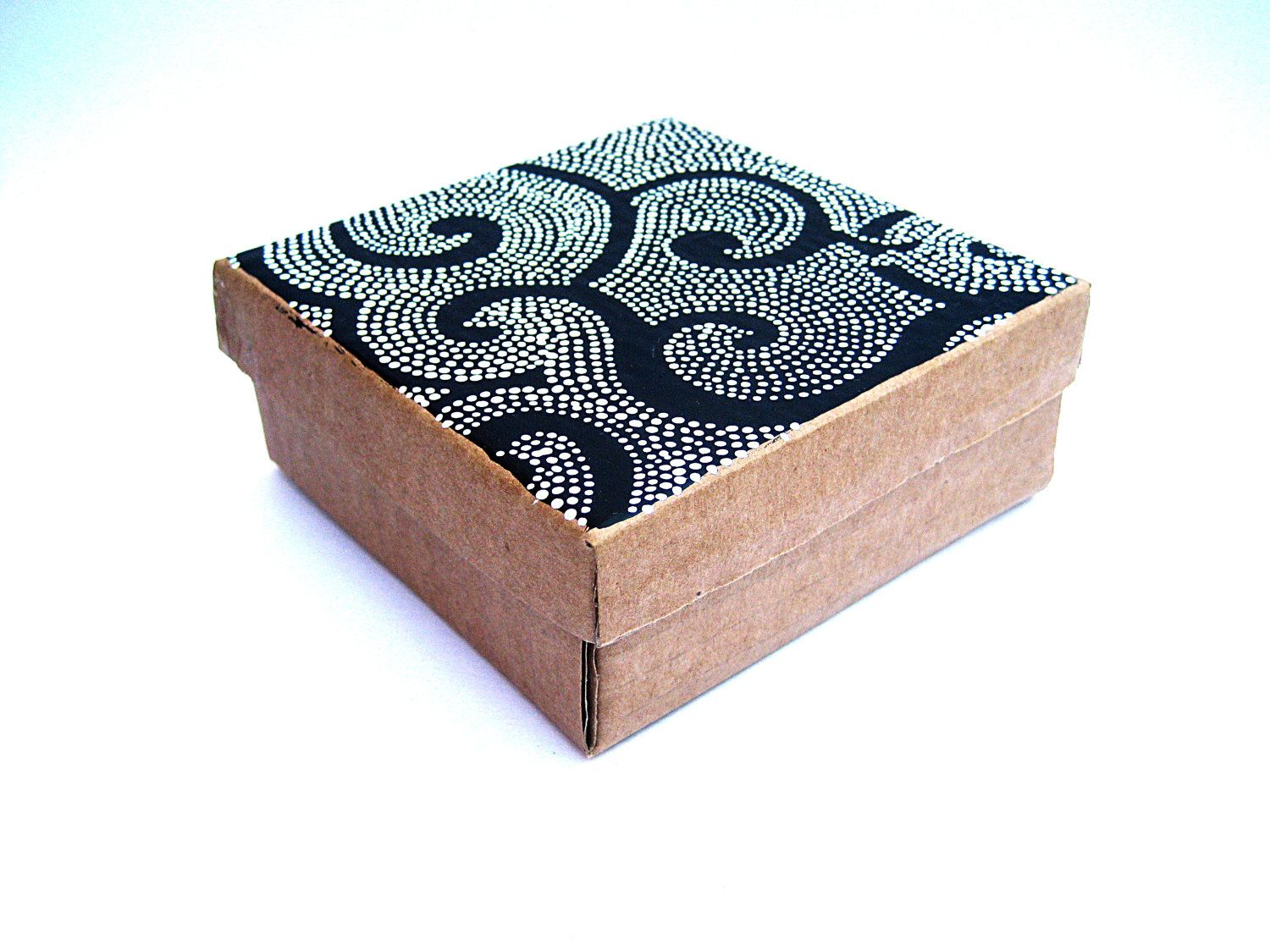 Cardboard Craft Boxes To Decorate Cardboard Box Recycled Painted With Dots Upcycled Cardboard