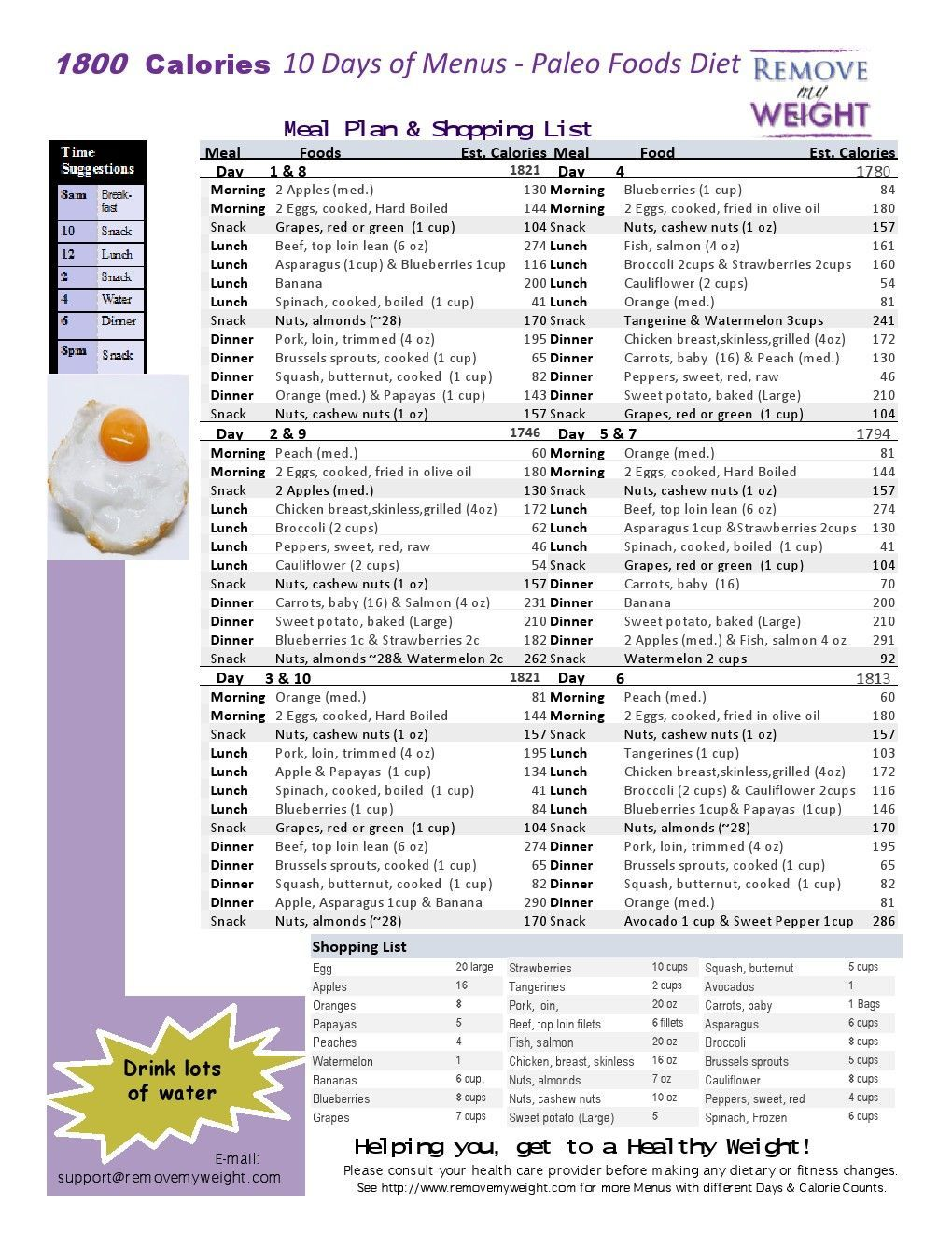 Simple One Page Printable 10 Day Of A 1800 Calorie Paleo Diet Menu Plan For A Health Life Paleo Diet Meal Plan 1800 Calorie Meal Plan Paleo Diet Menu