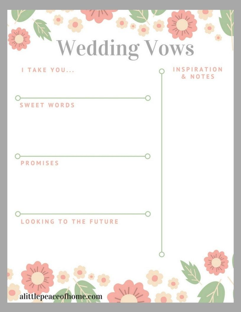 The Easiest Way To Write Your Own Vows A Little Peace Of Home Wedding Vows Template Vows Template Write Your Own Vows