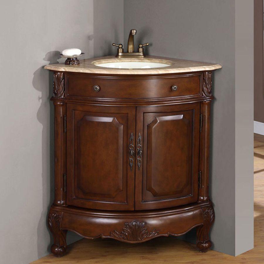 Silkroad Exclusive Hannah Cherrywood Single Sink Vanity With Travertine Top Common 32 In X 22 5 In Lowes Com Corner Bathroom Vanity Single Bathroom Vanity Vanity