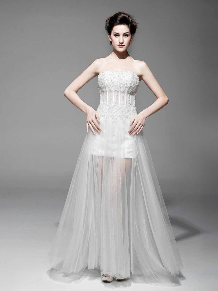 Sequined wedding dress  White Tulle Strapless Floor Length Sequin SheathColumn Laceup