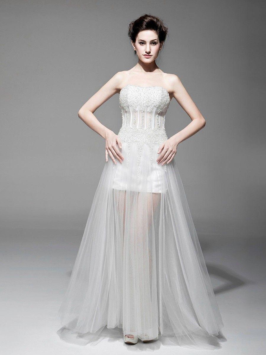 White tulle strapless floor length sequin sheathcolumn laceup