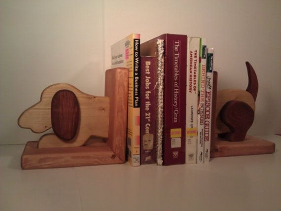 Wooden Dog Bookends Pair by WoodZProducts on Etsy, $44.99
