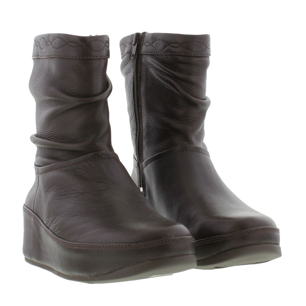 Fitflop Boots Womens - Fitflop Zip Up Crush Chocolate Brown