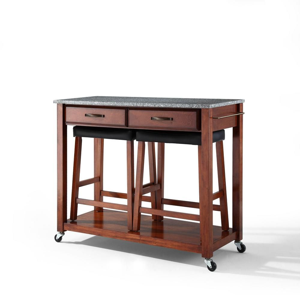 Crosley Cherry Kitchen Cart With Granite Top And Stools Kf300534ch Stainless Steel Kitchen Cart Kitchen Cart Kitchen Island Cart