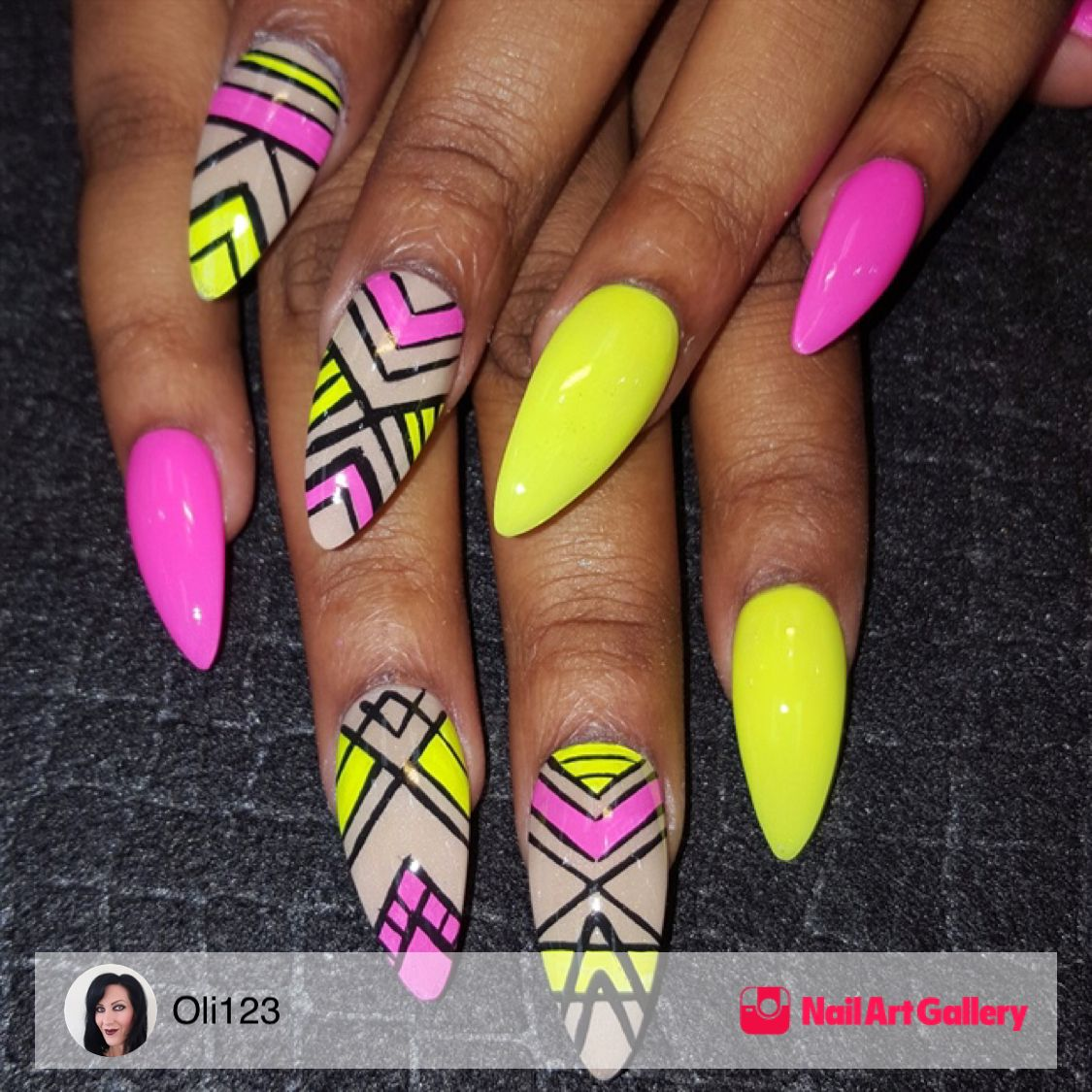 Neon Mix by Oli123 via Nail Art Gallery #nailartgallery #nailart #nails  #handpainted - Neon Mix By Oli123 Via Nail Art Gallery #nailartgallery #nailart