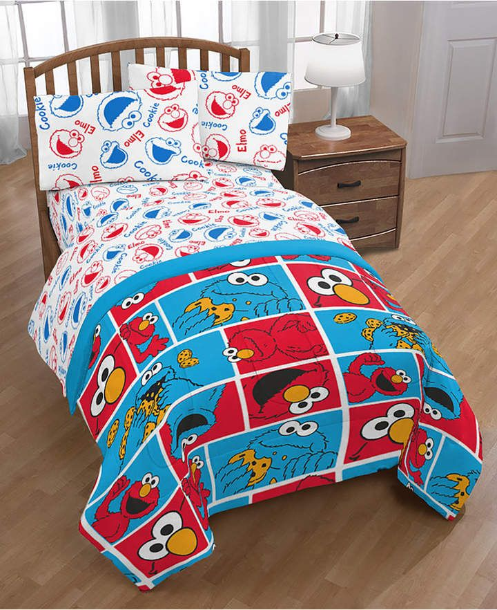Sesame Street Elmo Cookie Squares Twin Bed In A Bag Bedding