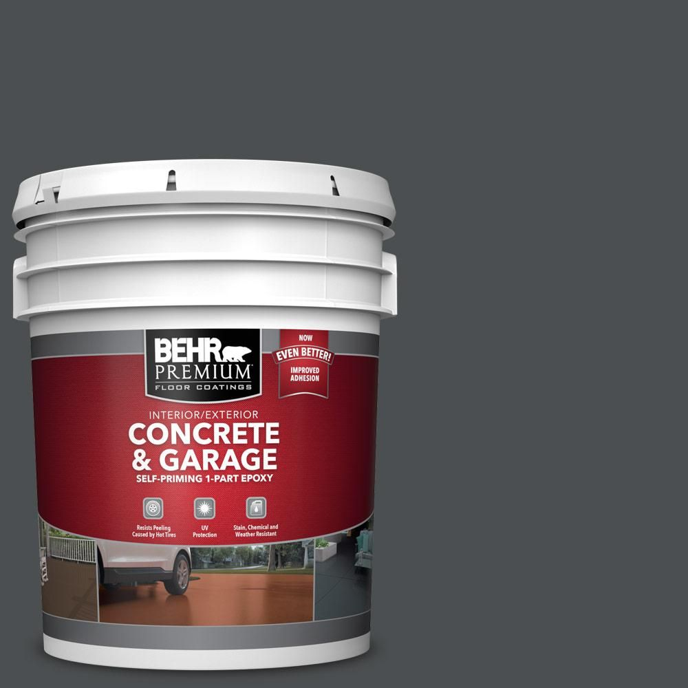 Behr Premium 5 Gal N460 7 Space Black 1 Part Epoxy Satin Interior Exterior Concrete And Garage Floor Paint Garage Floor Paint Painted Floors Garage Floor