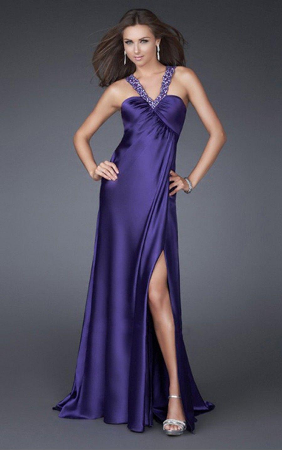 Purple A-line Floor-length V-neck Dress | Maxi robes | Pinterest