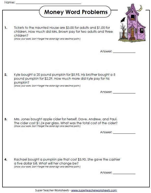 Have some Halloween fun with these money word problems! Stw - subtracting money worksheet