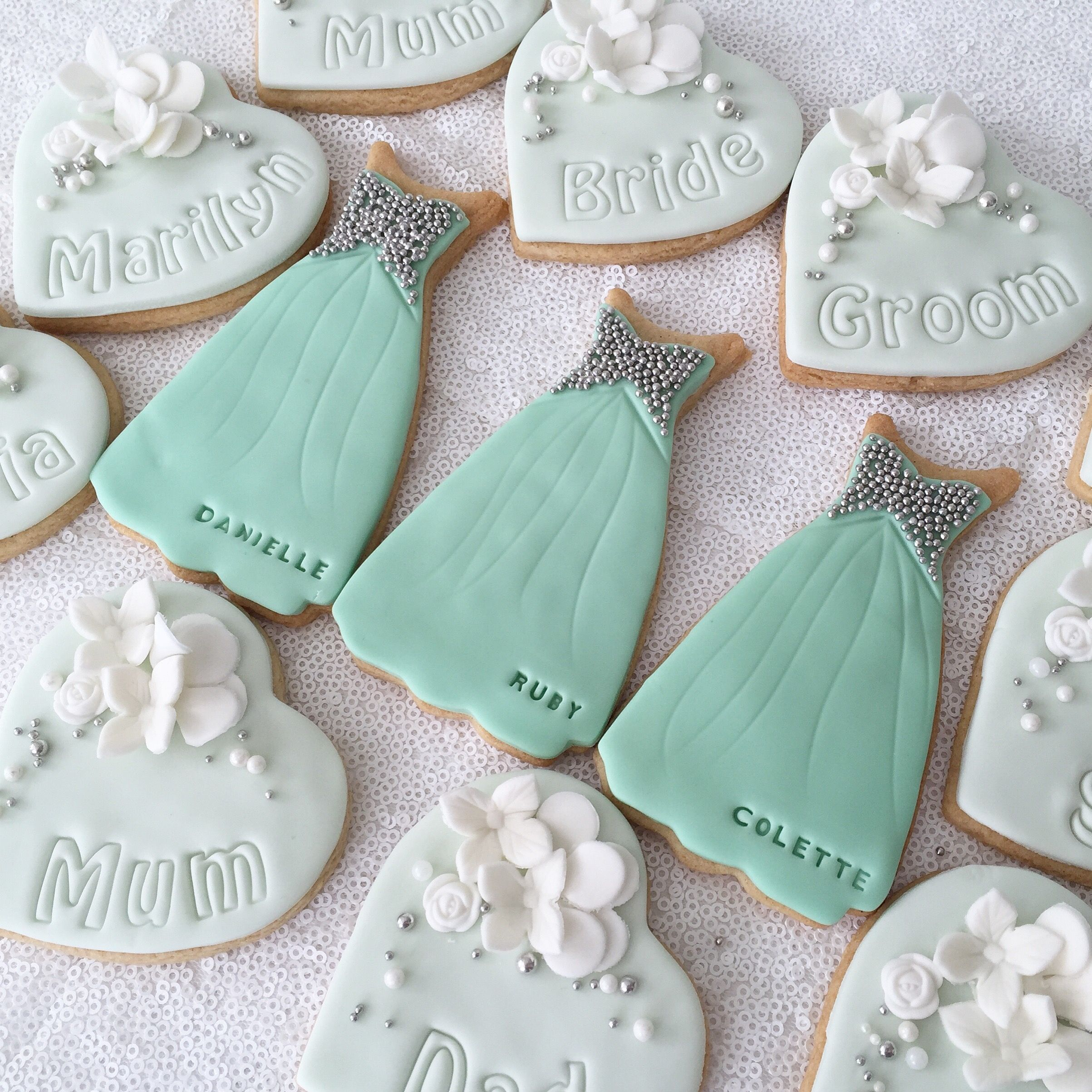 Turquoise Personalised Wedding Cookie Favours And Bridesmaid Dress Cookies