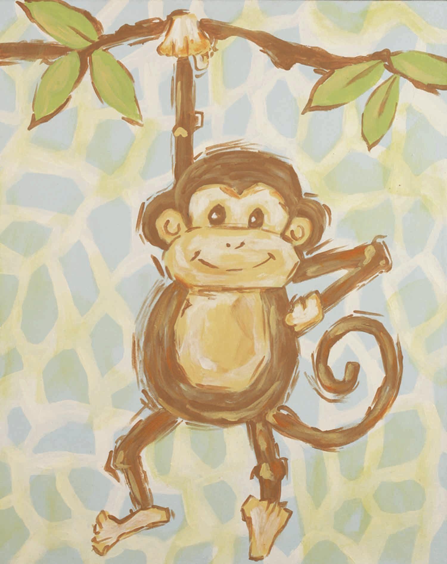 Safari Monkey Blue Canvas Art | monkeys | Pinterest | Blue canvas ...