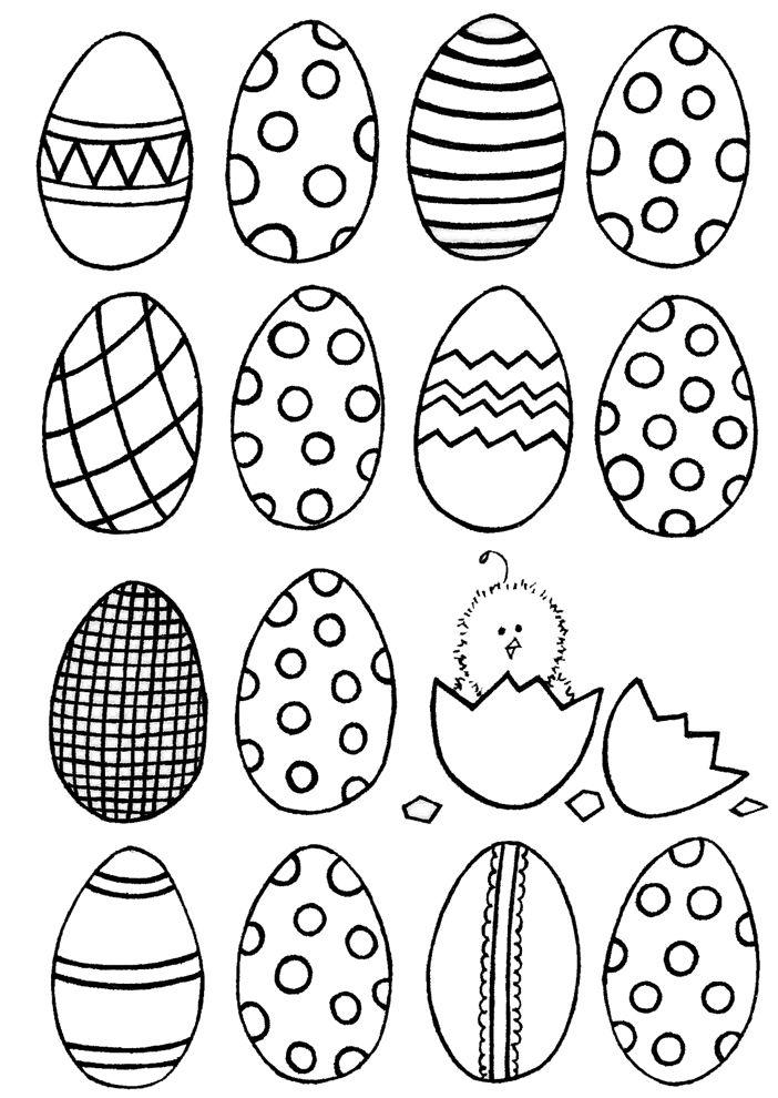 disegno di Uova Di Pasqua Dipinte da colorare