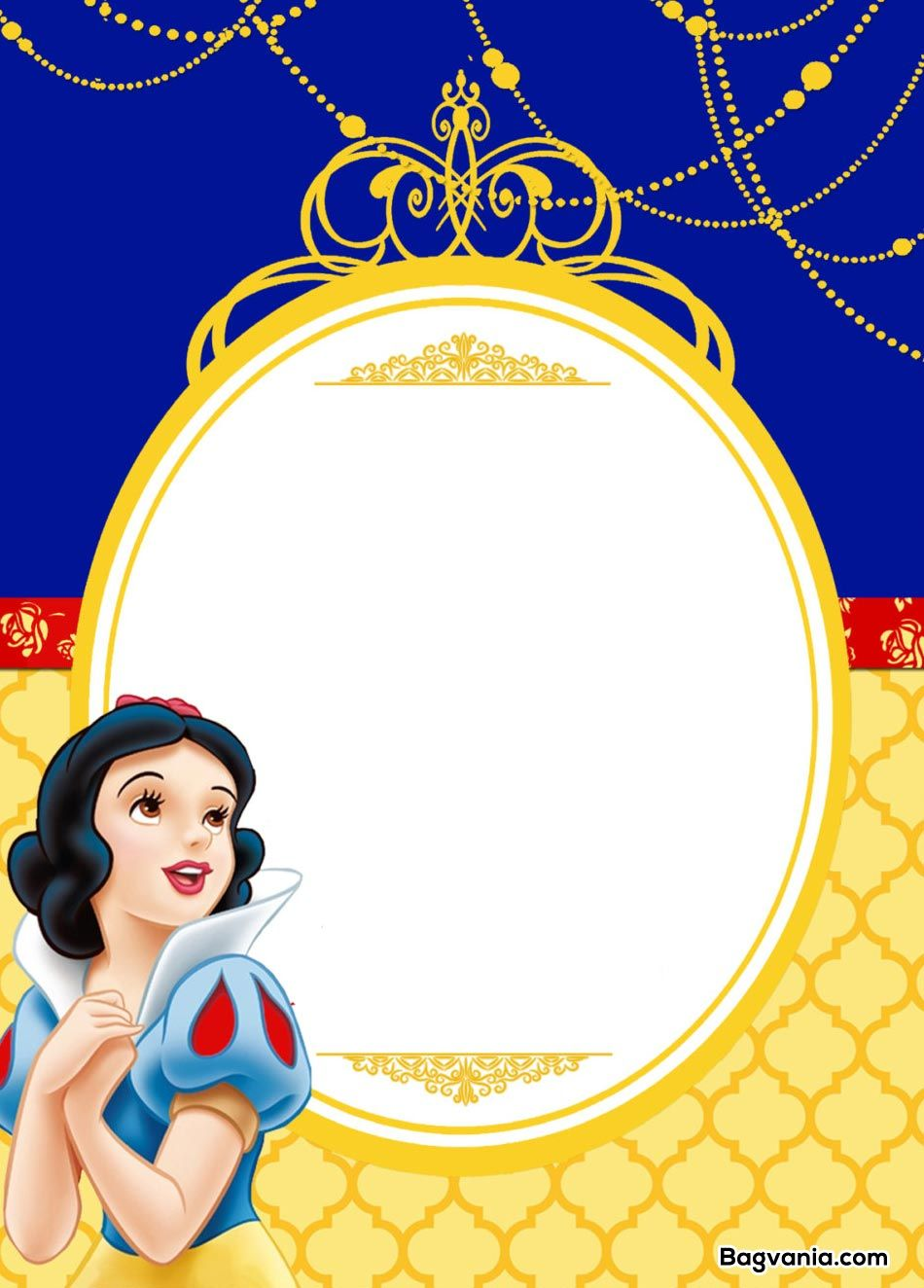 photograph relating to Snow White Invitations Printable named No cost Printable Snow White Birthday Invites Bagvania