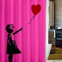 Banksy Girl Heart Balloon Love Cover Shower Curtain Curtains