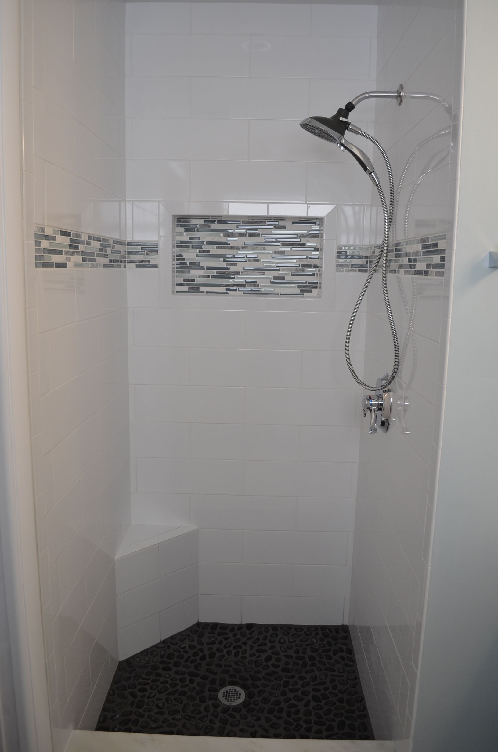 Exceptionnel Small Shower Design By Investcove Properties. Large Format Subway Tile W/  Marble U0026 Glass Listello, And River Rock Shower Floor. Custom Extra Large  Nook.