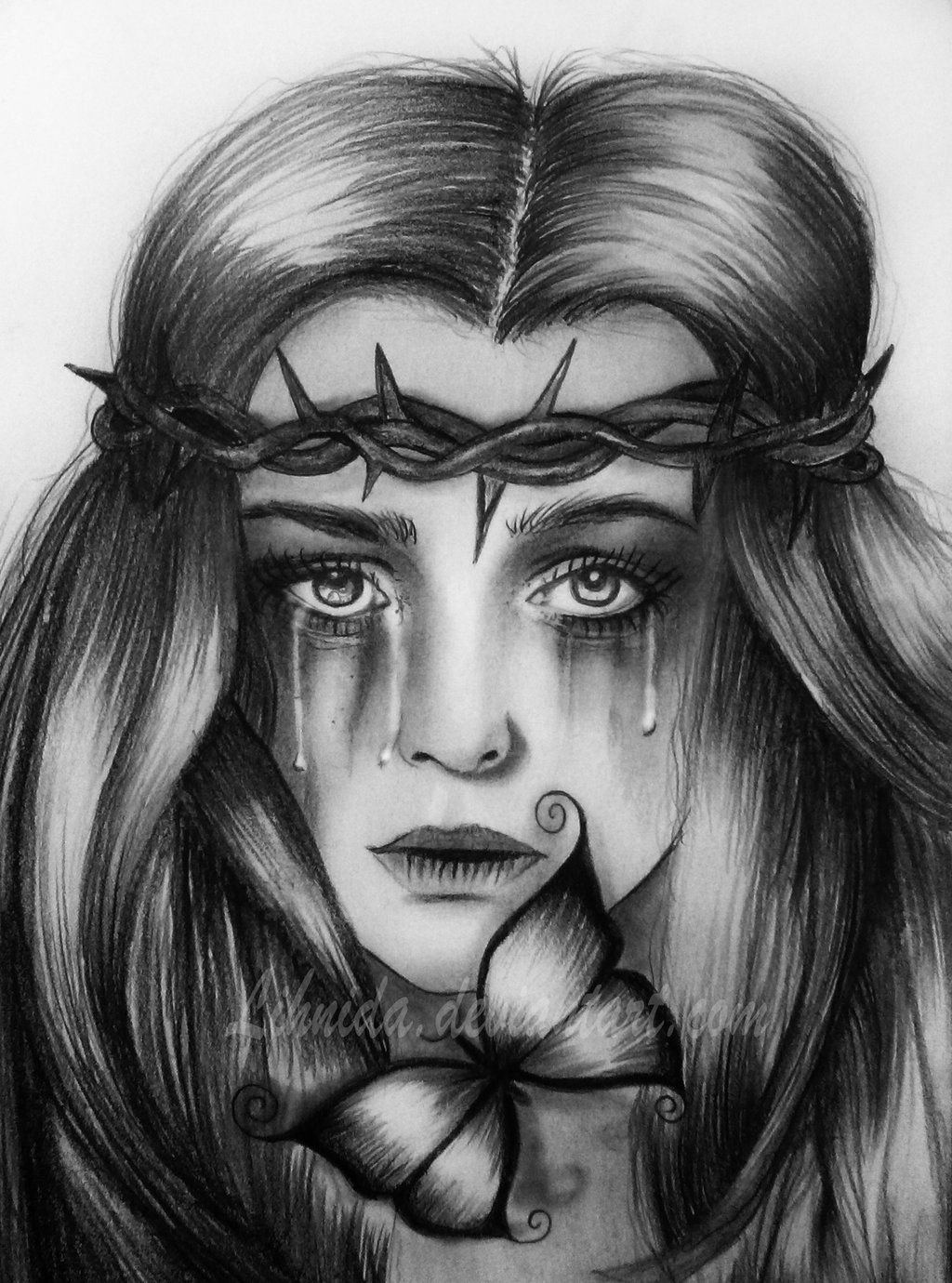 Drawing Of A Girl Crying : drawing, crying