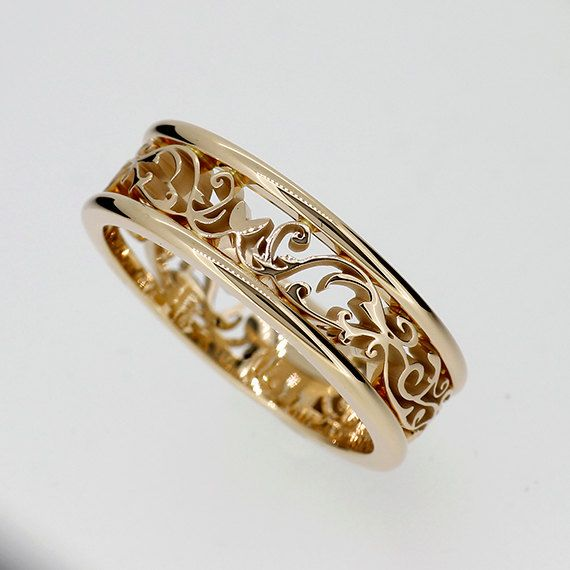 Wedding Band Men Wedding Ring Filigree Ring Filigree Etsy In 2020 Filigree Wedding Band Wedding Rings Vintage Wide Wedding Rings