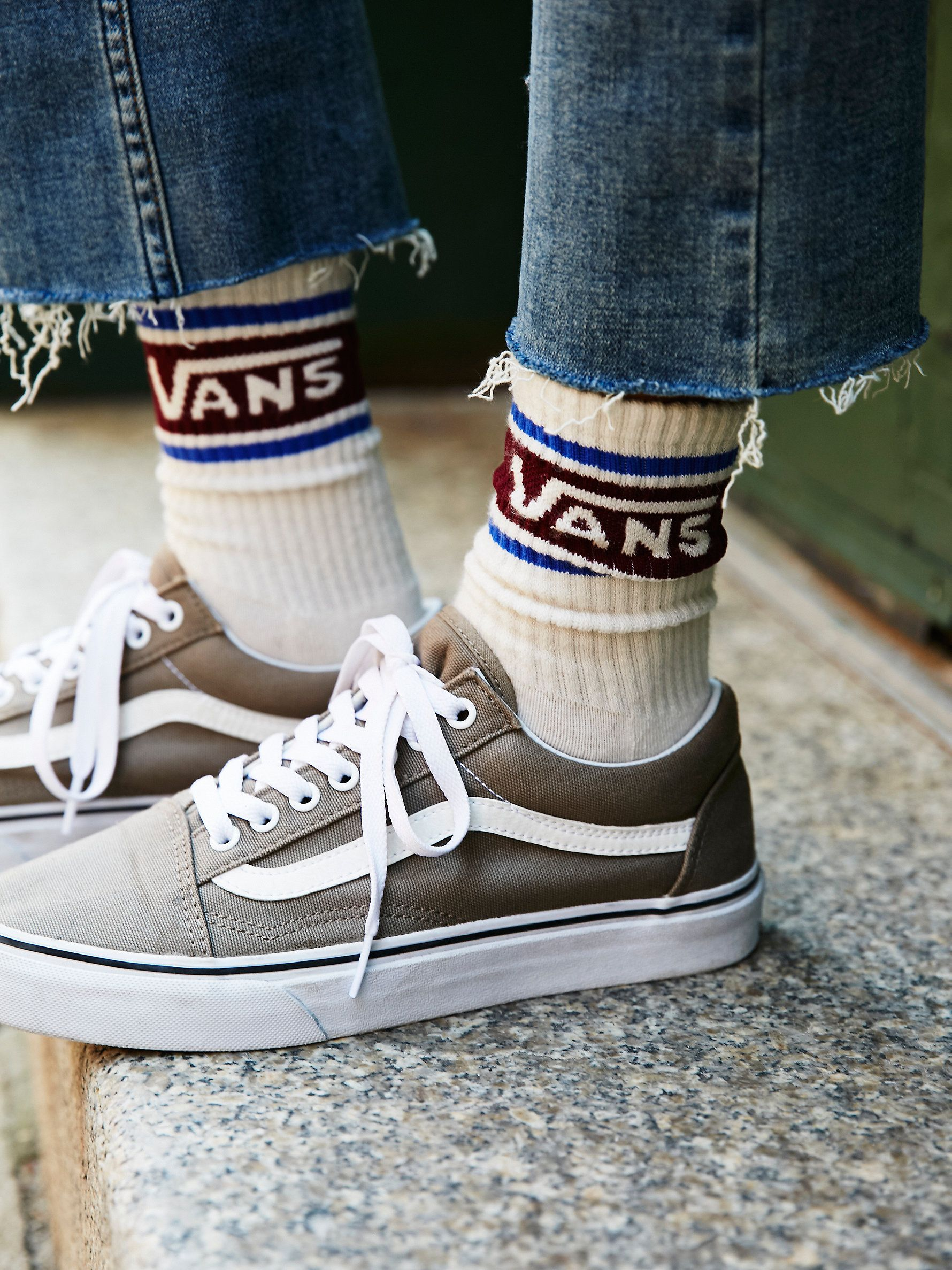 dc3e22e1232 these retro-inspired athletic crew socks feature contrast coloring and a  Vans logo.
