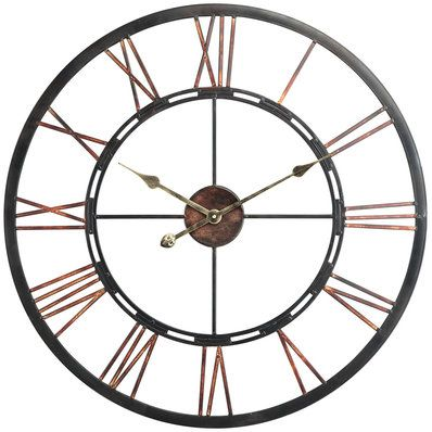 28 Roman Numeral Aged Copper Clock Oversized Wall Clock Black Wall Clock Wall Clock
