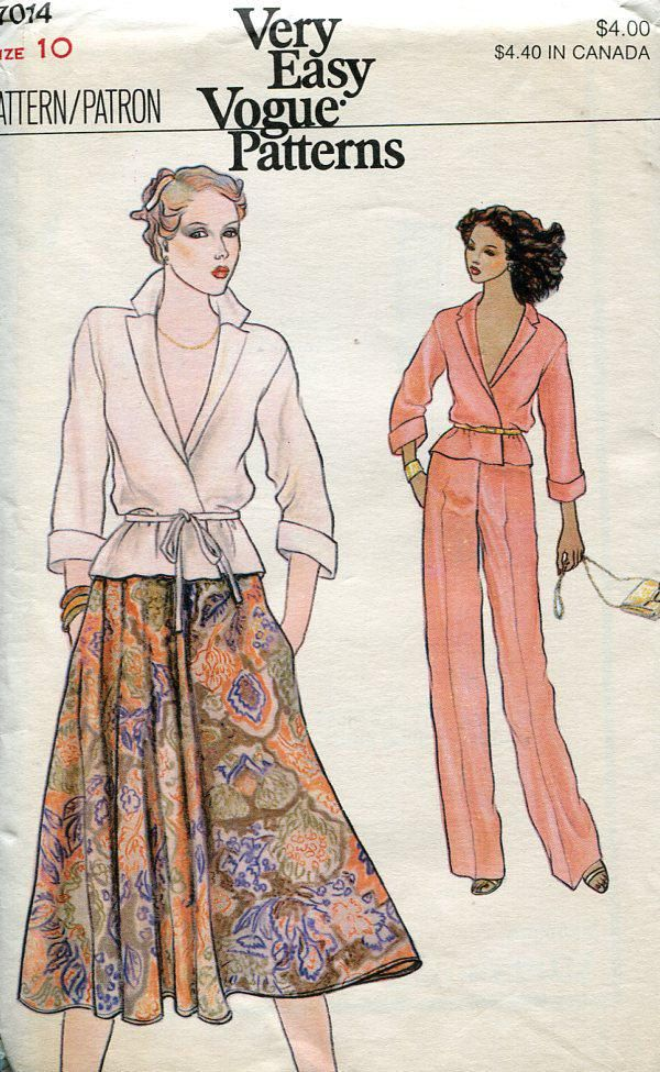 Free Us Ship Vogue Sewing Pattern 7014 Vintage Retro 1970s 70s