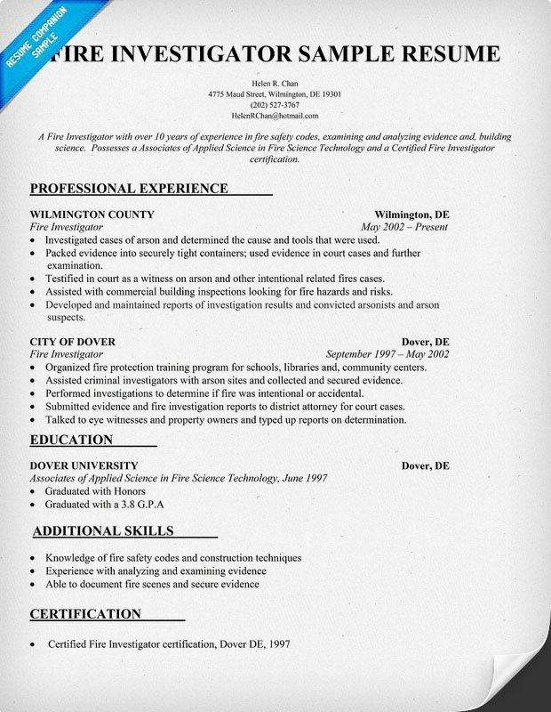 Fire Investigator Resume Sample  HttpResumesdesignComFire